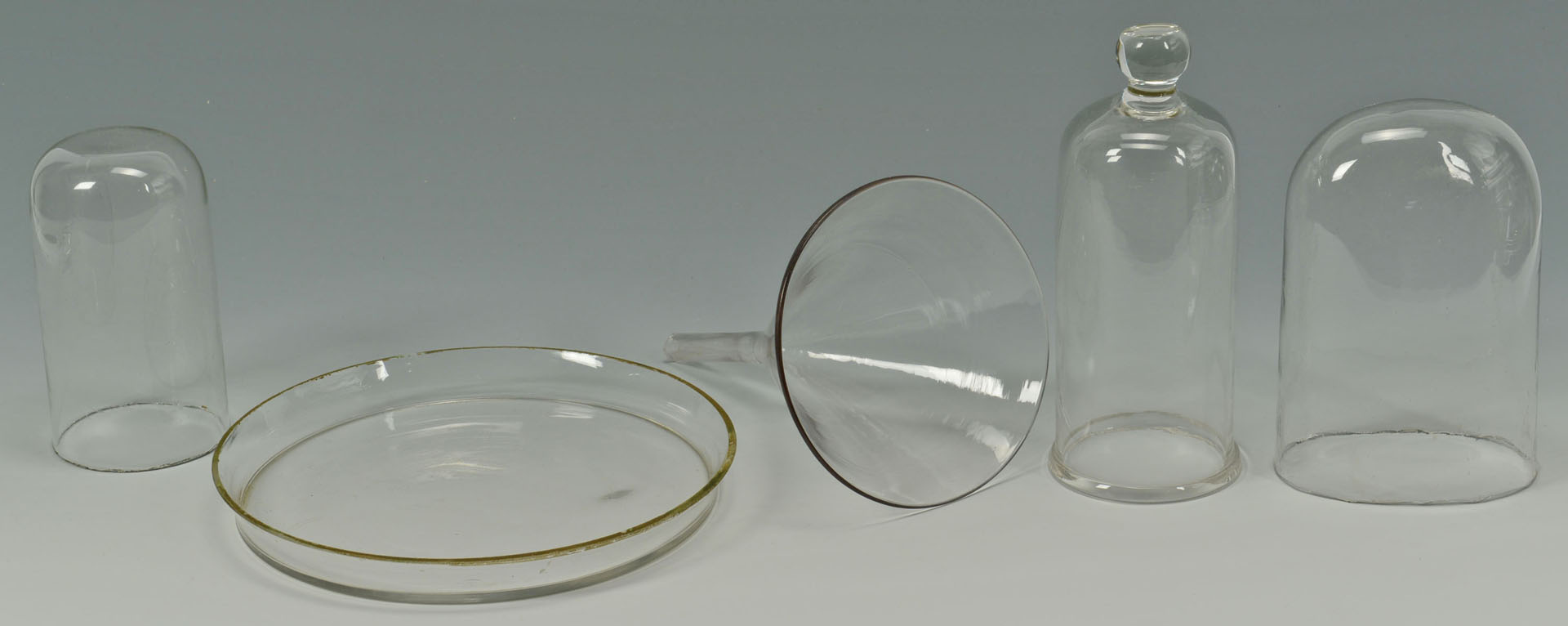 Lot 525: 9 Blown Glass Items incl. apothecary, domes, banks