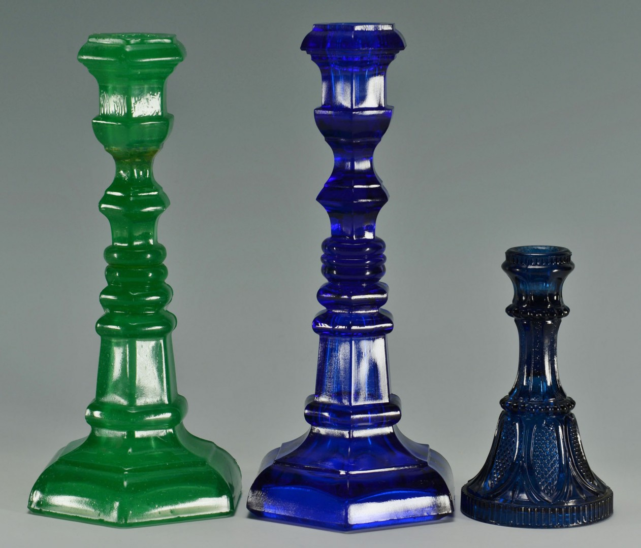 Lot 526: 3 Pressed Glass Candlesticks, Sandwich