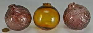 Lot 527: 3 Early Glass Target Balls, Amethyst & Amber