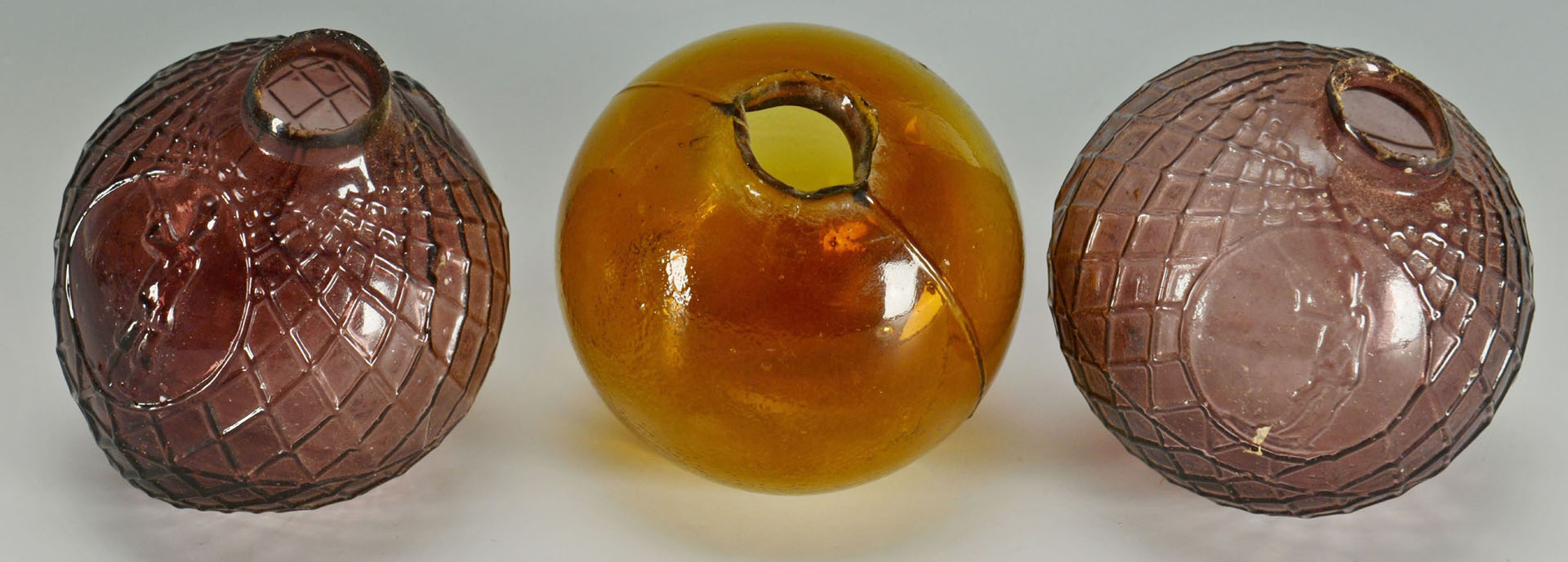 3 Early Glass Target Balls, Amethyst & Amber
