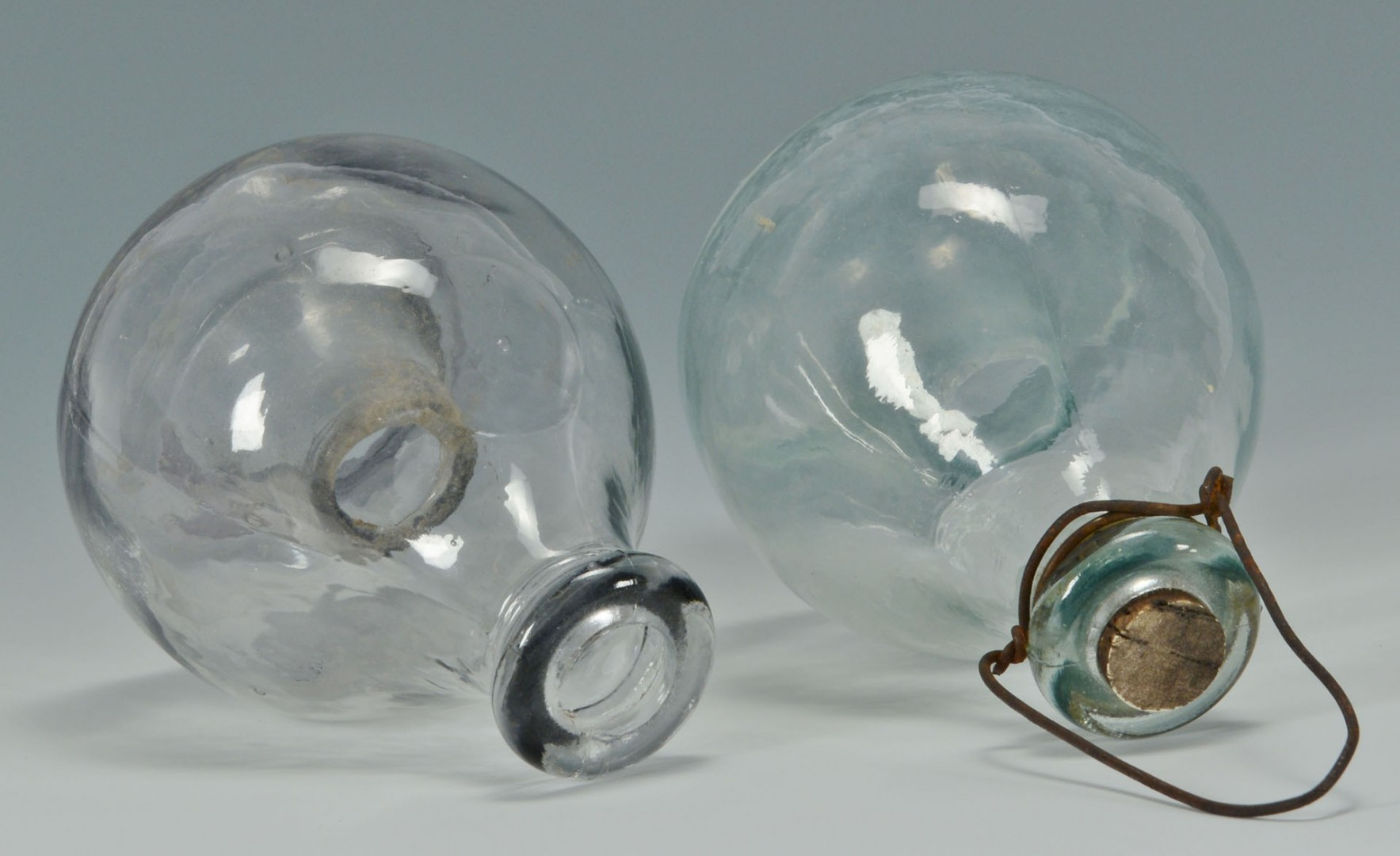 Two early blown glass fly catchers