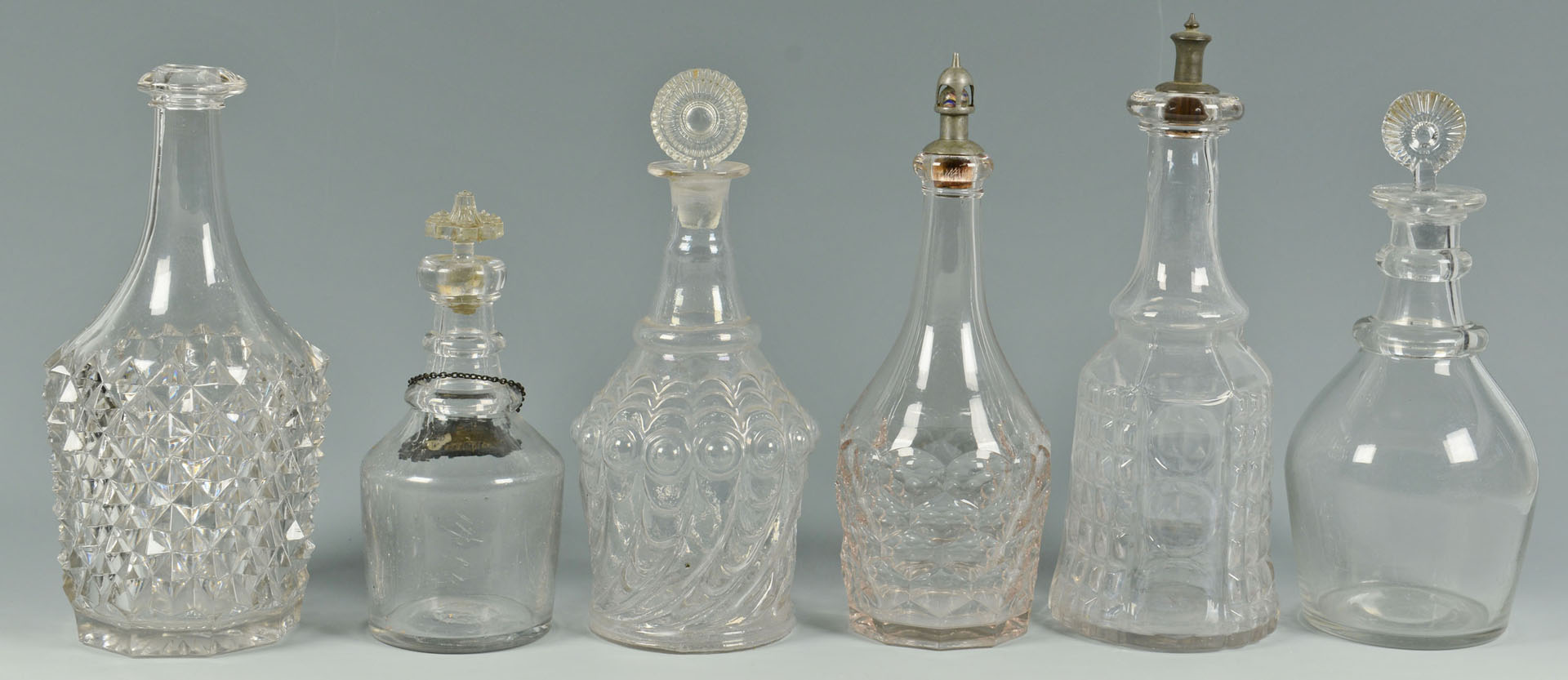 6 Glass Decanters, 19th century