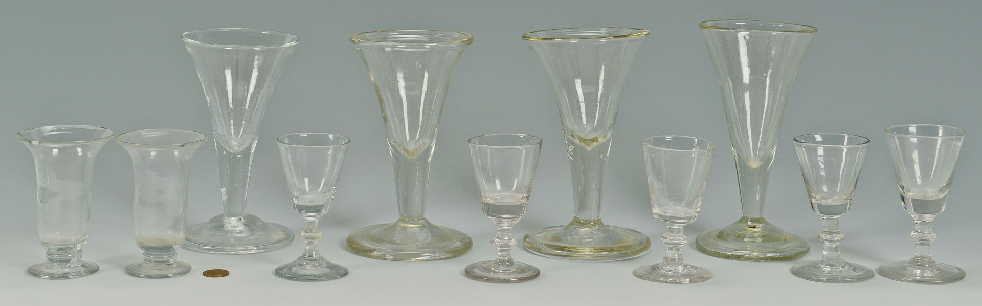 Early Blown Glass Drinking Vessels, 11 items