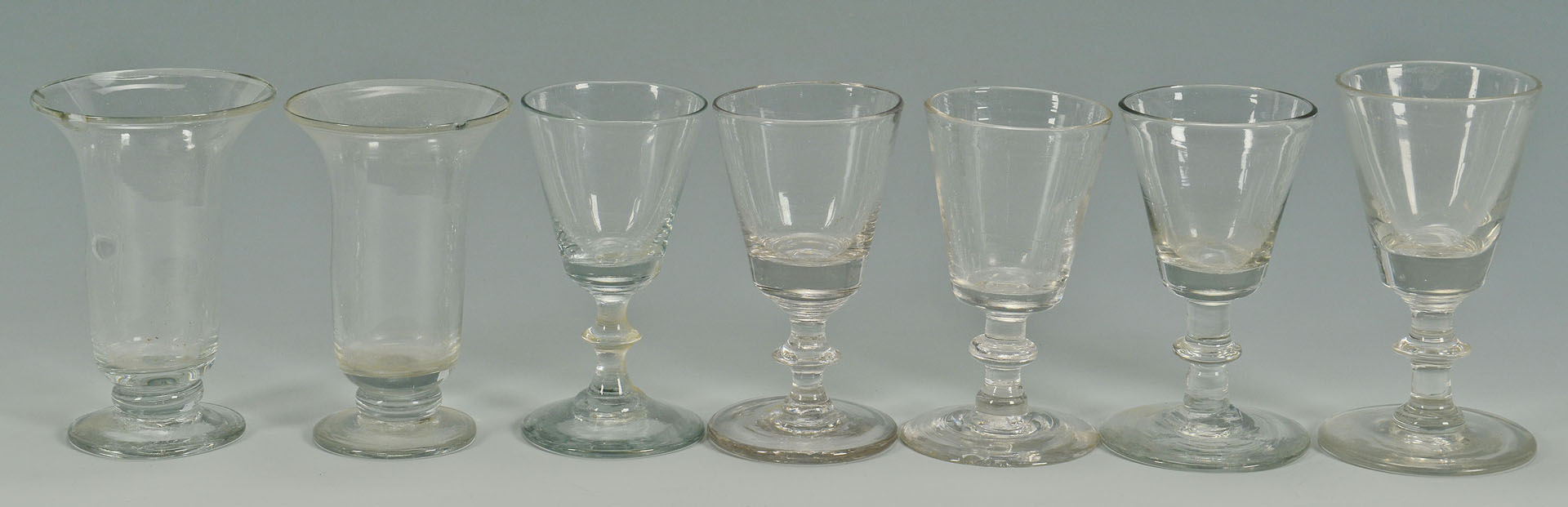 Lot 531: Early Blown Glass Drinking Vessels, 11 items