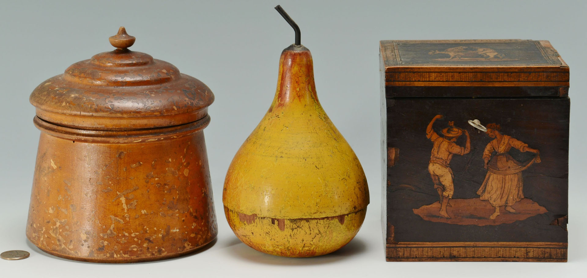 Lot 536: 3 pcs early woodenware incl. pear, tea caddy and t