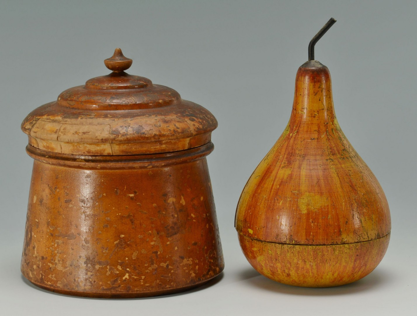 3 pcs early woodenware incl. pear, tea caddy and treen
