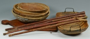 Lot 538: Grouping of Wooden Dough Bowls & Other Items, 11pc