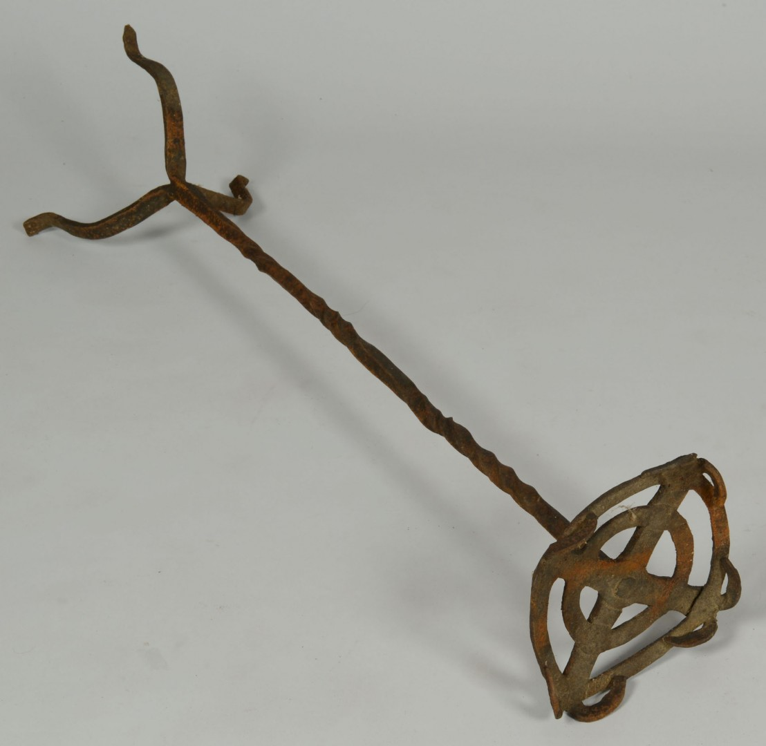 Lot 540: Grouping of early wrought iron hearth items, 10