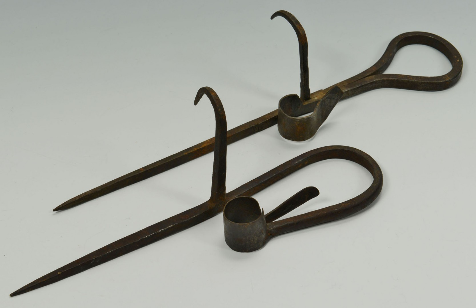 Lot 542: Grouping of Wrought Iron Tools, Most Hearth