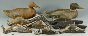 Lot 547: 10 Bird Decoys includ. 4 tinnies, crows, mallards