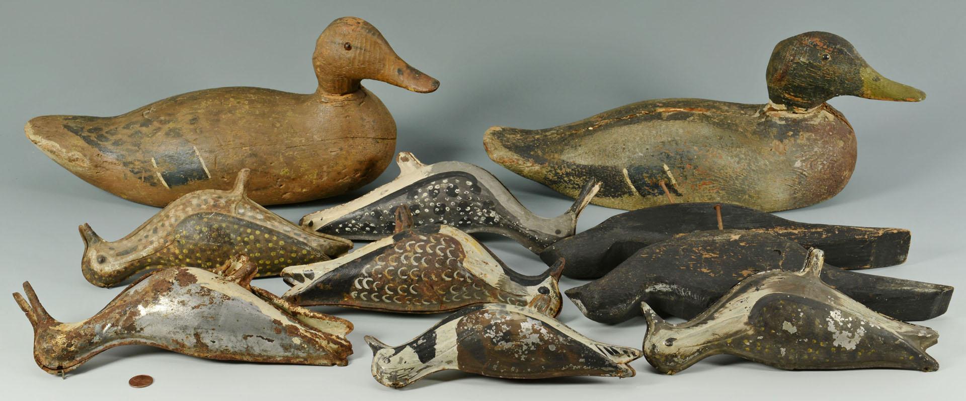 10 Bird Decoys includ. 4 tinnies, crows, mallards