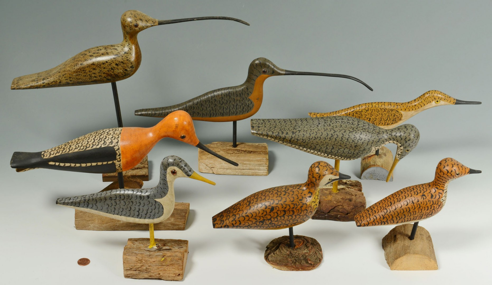 Lot 548: 8 Carved Shorebirds by Percy Perkins, N.H.