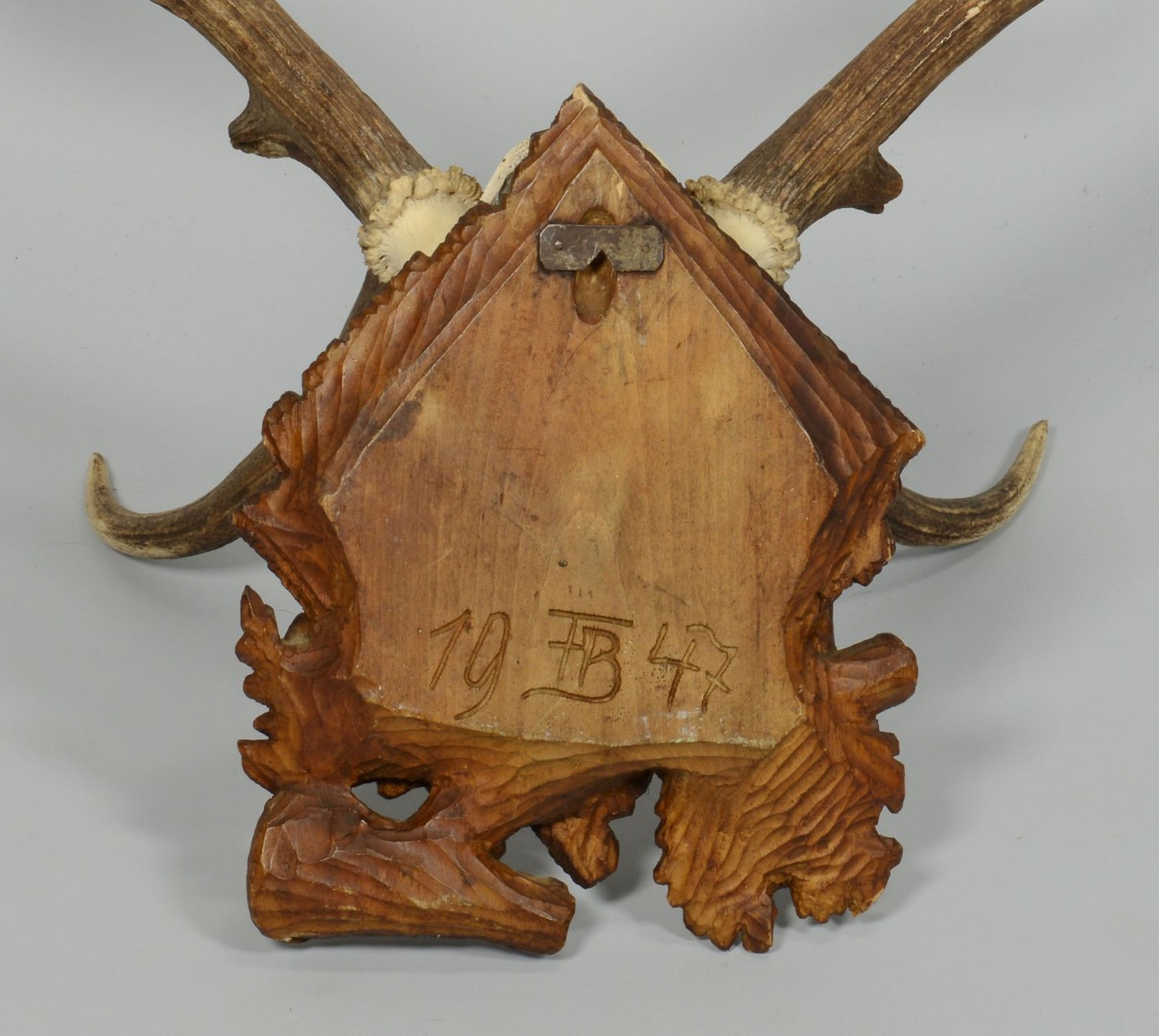 2 Marked Elk Antlers on Carved Plaques