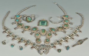 Lot 558: Group of Southwestern turquoise jewelry