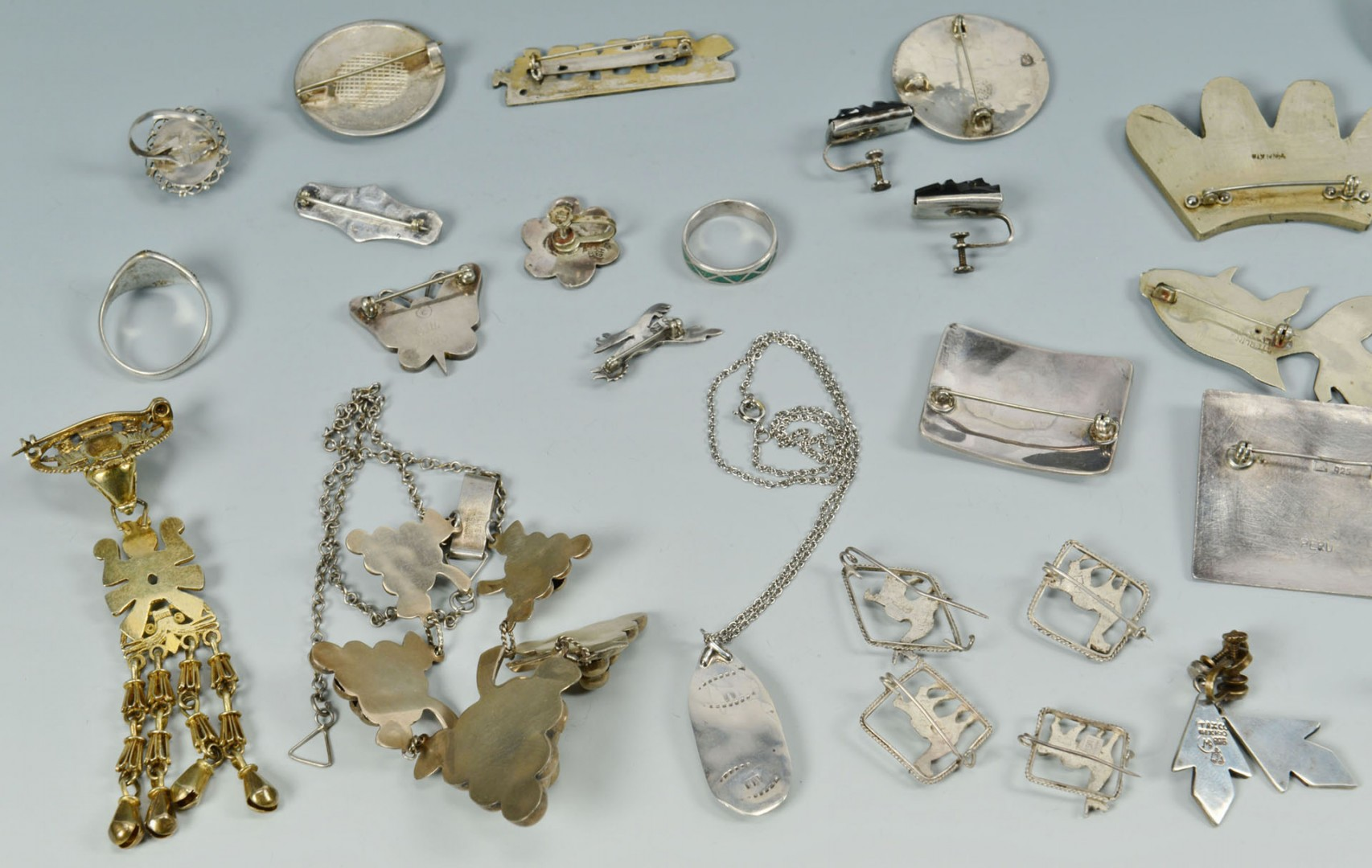 Lot 560: Lot of Silver Jewelry inc. Native American, Mexica