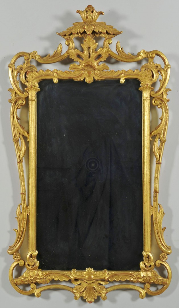 Lot 576: Rococo Style Gilt Wood Mirror