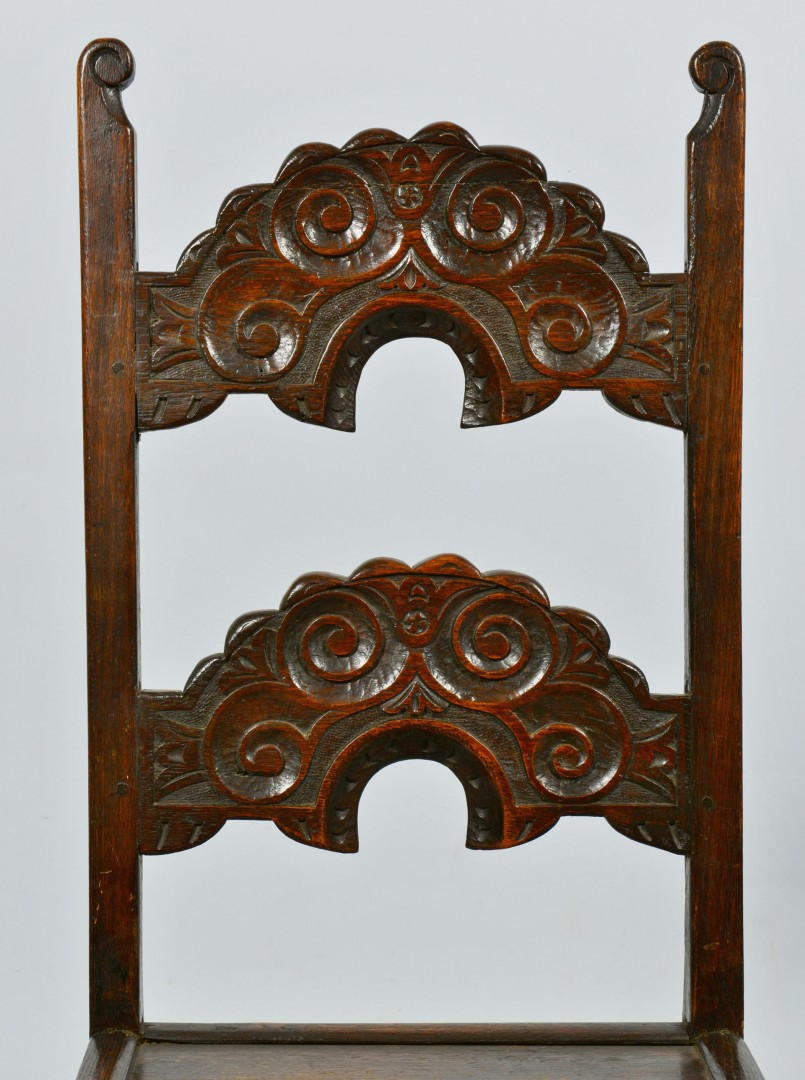 Set of  4 Oak Side Chairs plus Pair Carved Chairs