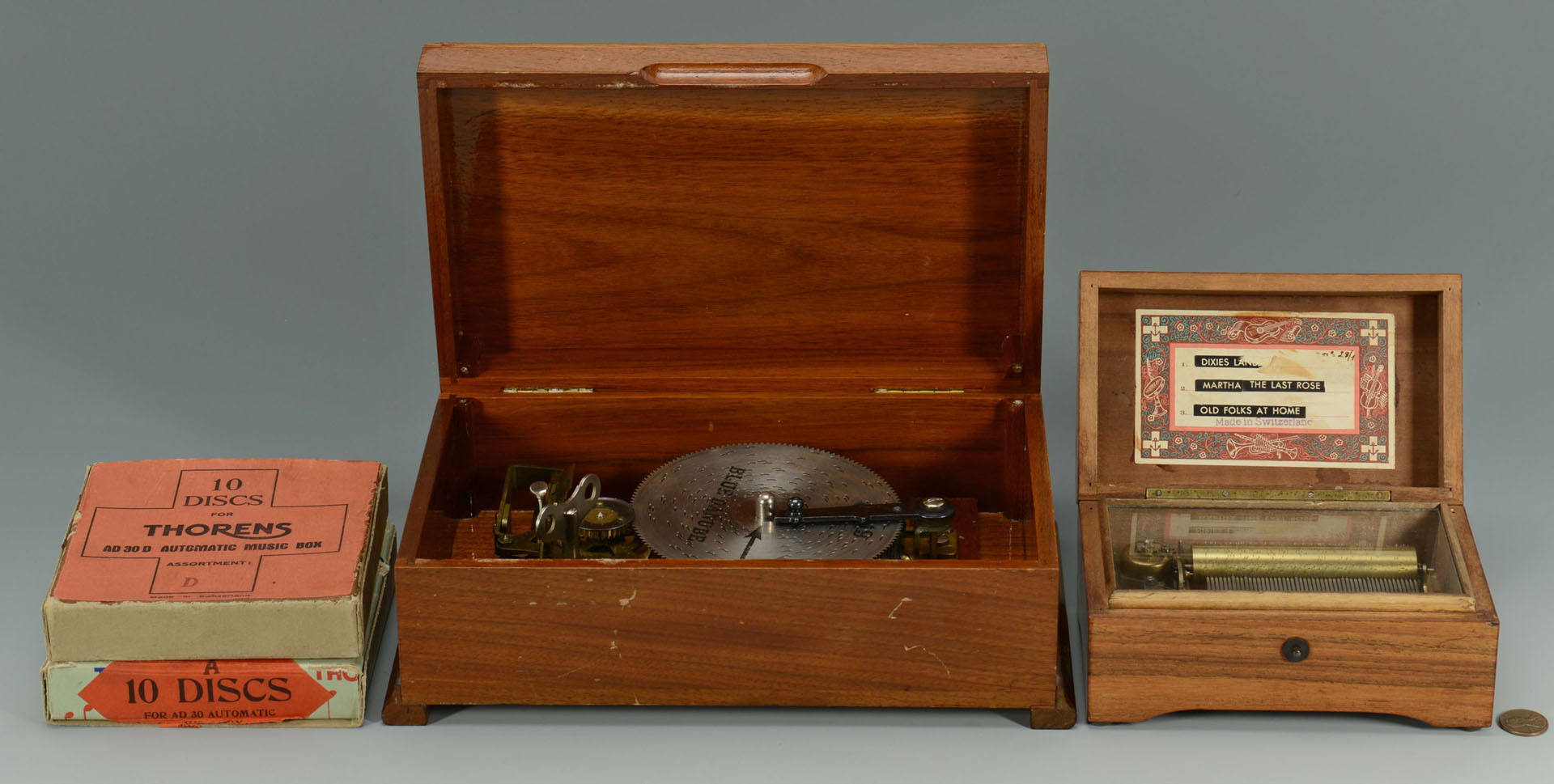 Lot 581: 2 Thorens Swiss Music Boxes & 21 discs