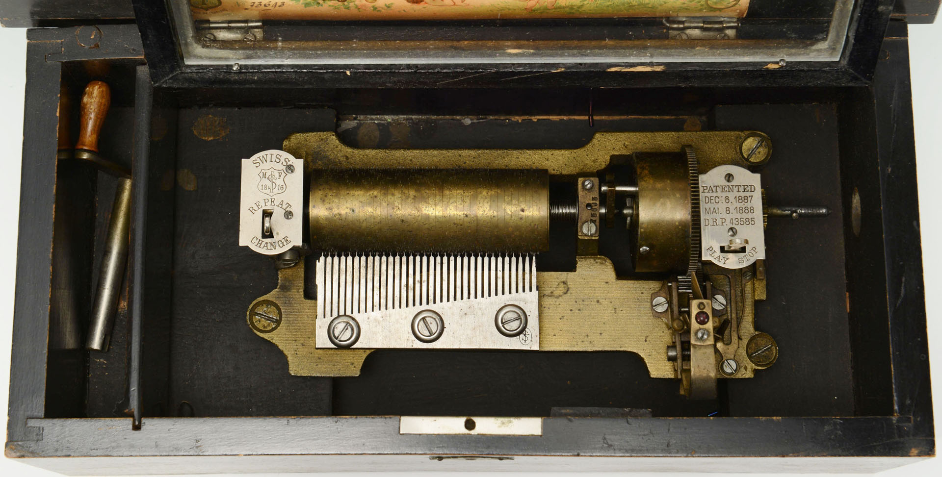 Lot 582: Mermod Freres Cylinder Music Box, 6 tunes