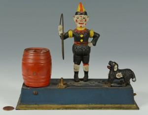 Lot 586: Hubley Trick Dog & Clown Cast Iron Bank