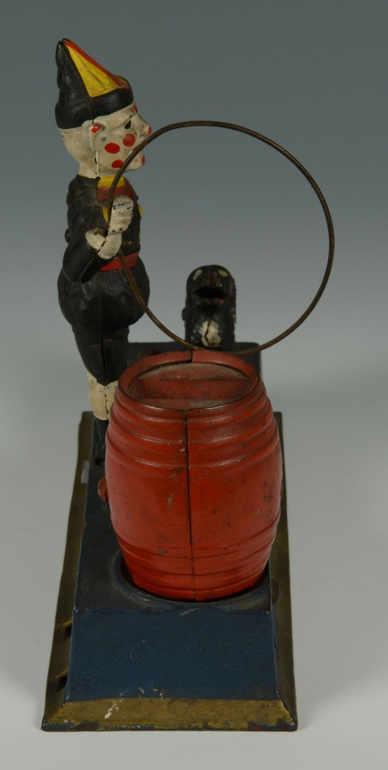 Lot 586: Hubley Trick Dog & Clown Cast Iron Bank