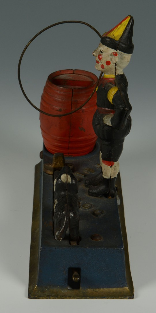 Hubley Trick Dog & Clown Cast Iron Bank