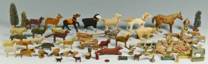 Lot 590: Group of early carved & painted farm animals