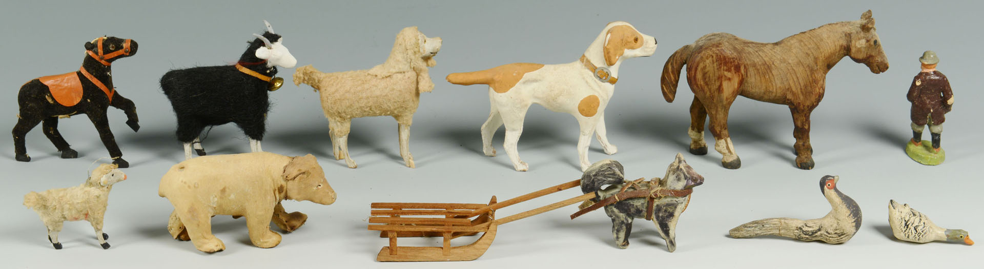 Group of early carved & painted farm animals