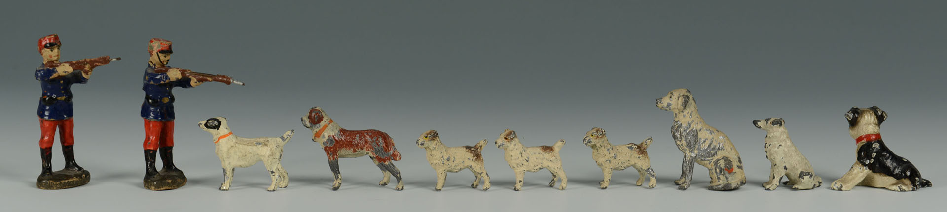 Grouping of Miniature Metal Toy Soldiers and dogs