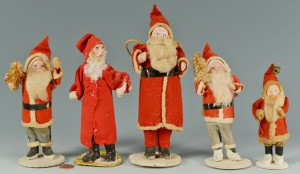Lot 595: Grouping of five (5) early standing Santa figures
