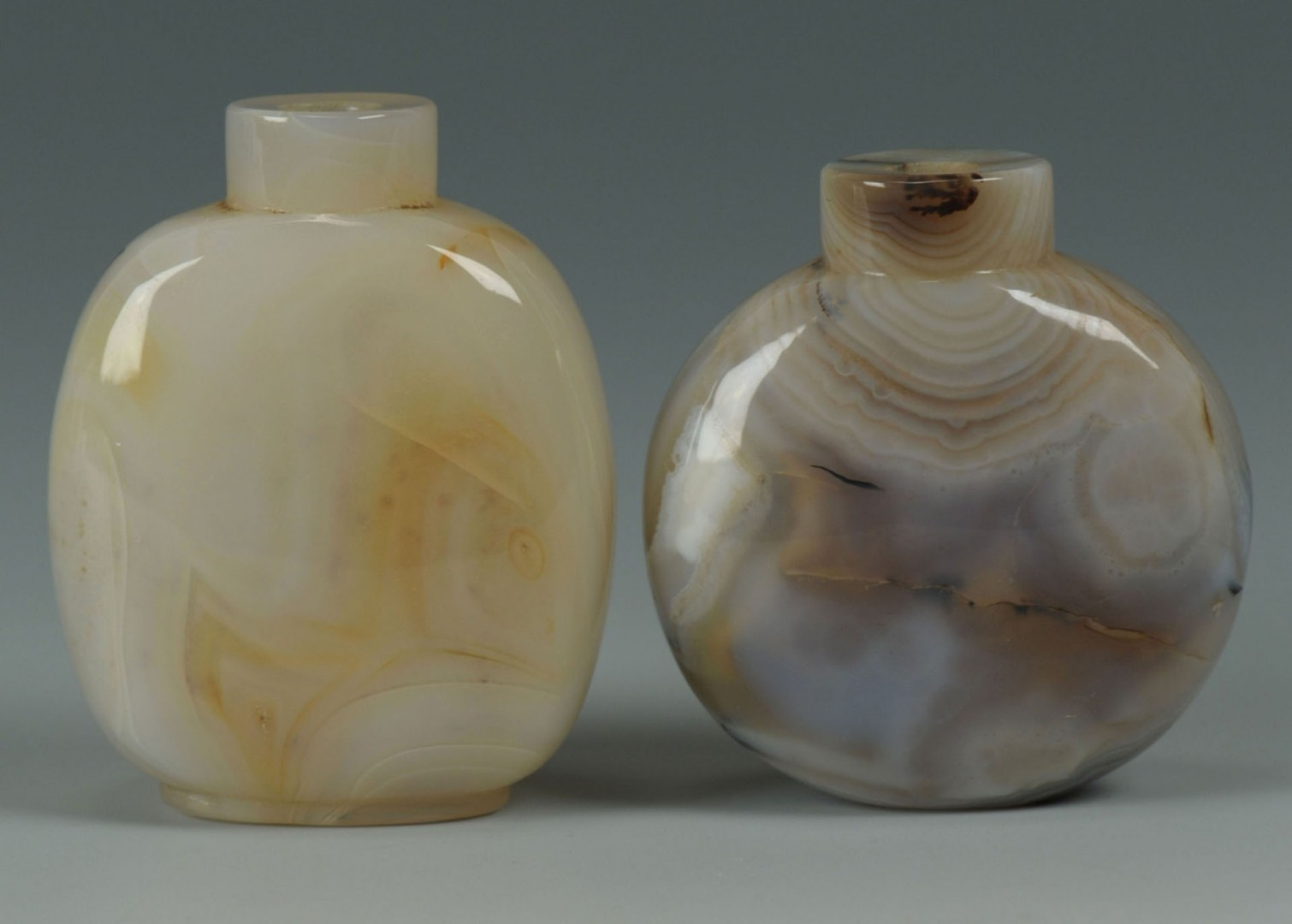 3 Chinese Snuff Bottles, Jade & Agate