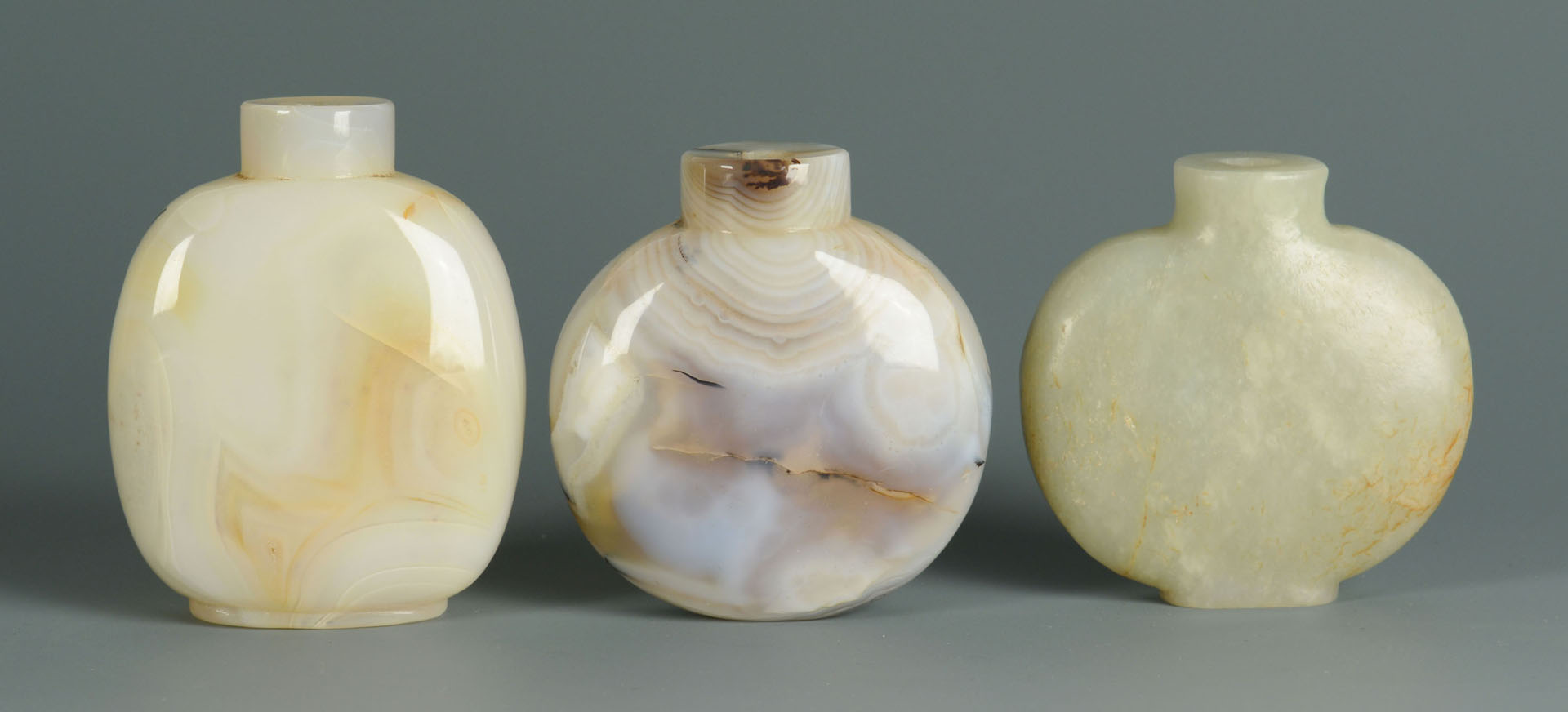 Lot 5: 3 Chinese Snuff Bottles, Jade & Agate