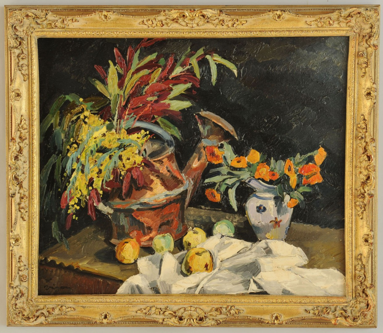 """Lot 600: """"Vigon"""" Floral Still Life, 20th century"""