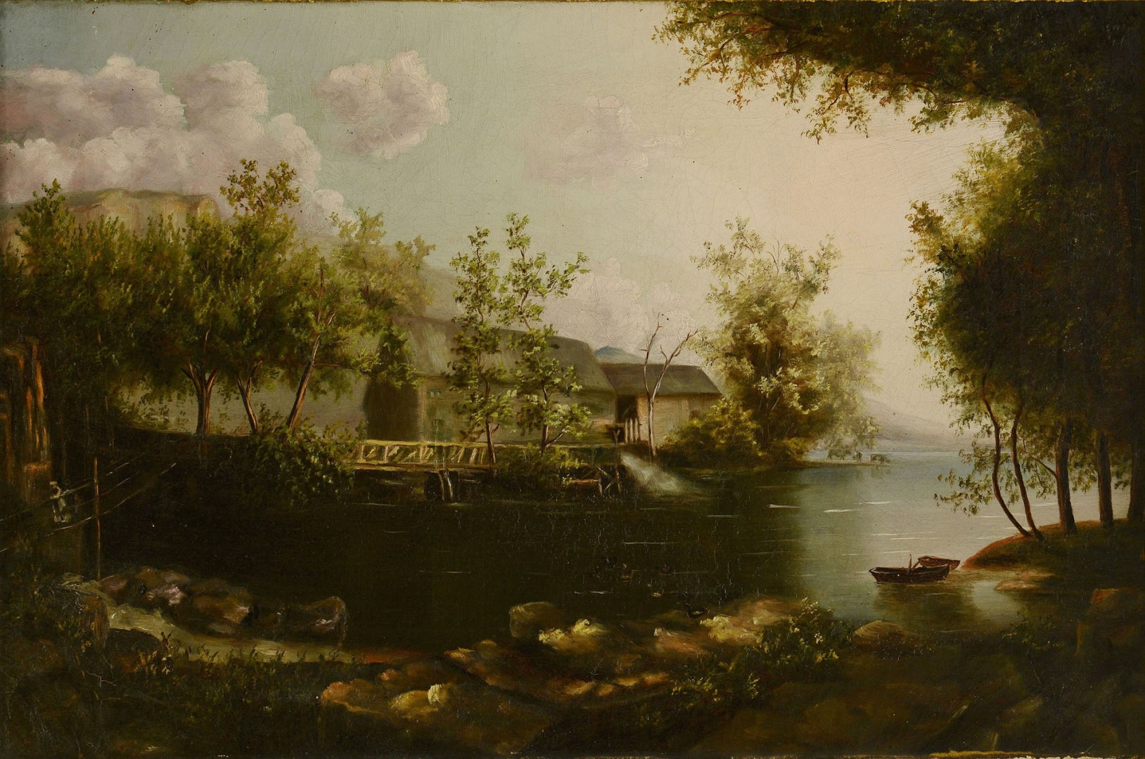 Lot 604: 19th C. Oil on Canvas, Knox County Scene