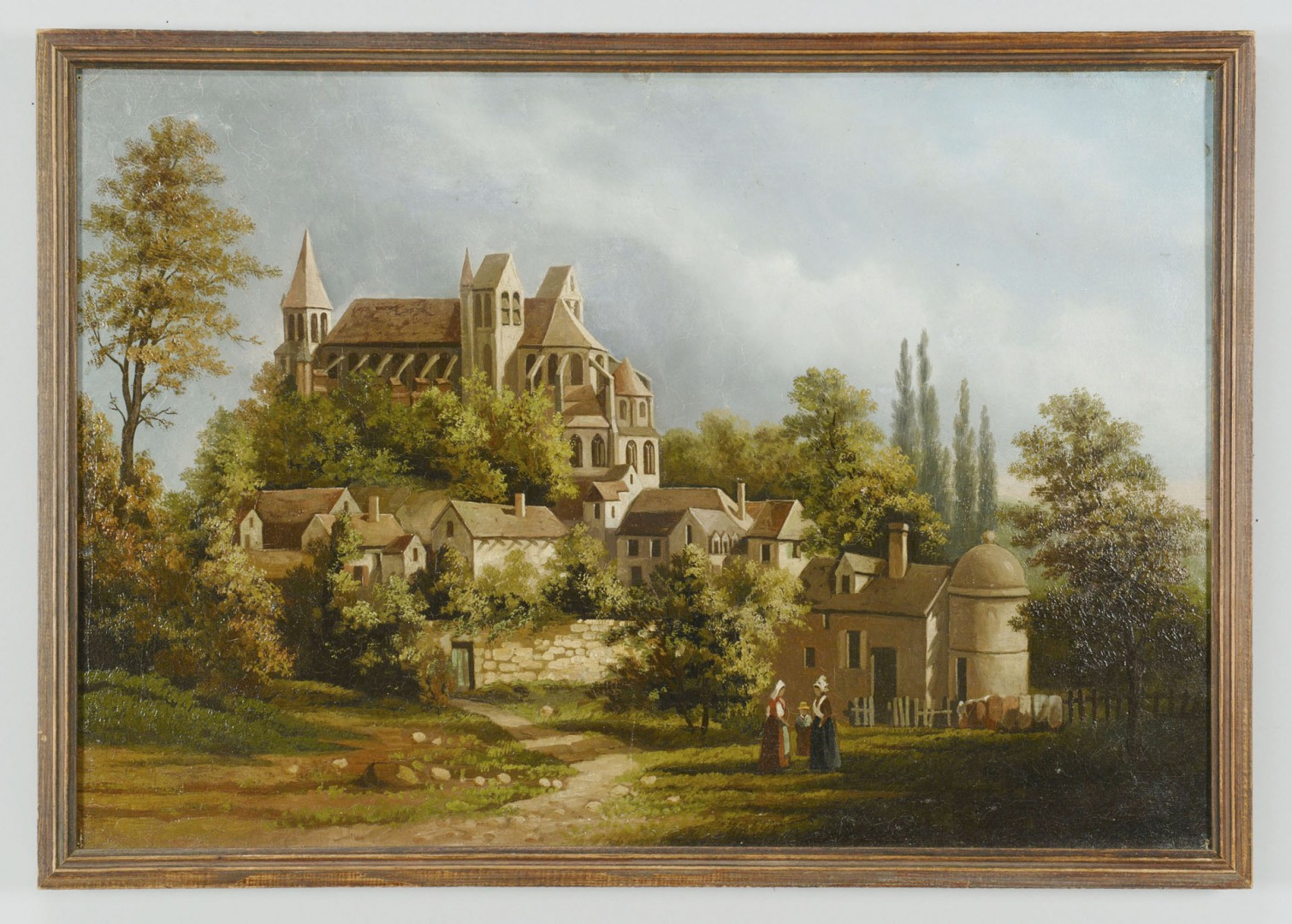 Lot 605: 19th Cent. Oil on Canvas European Village Scene
