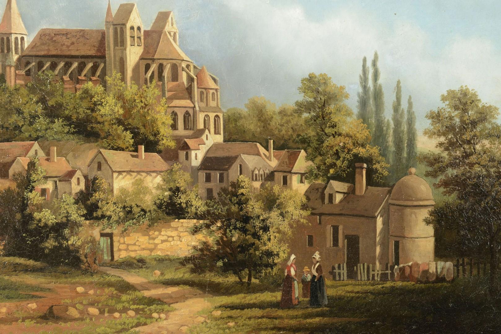 Lot 605: 19th Cent. Oil on Canvas European Village Scene