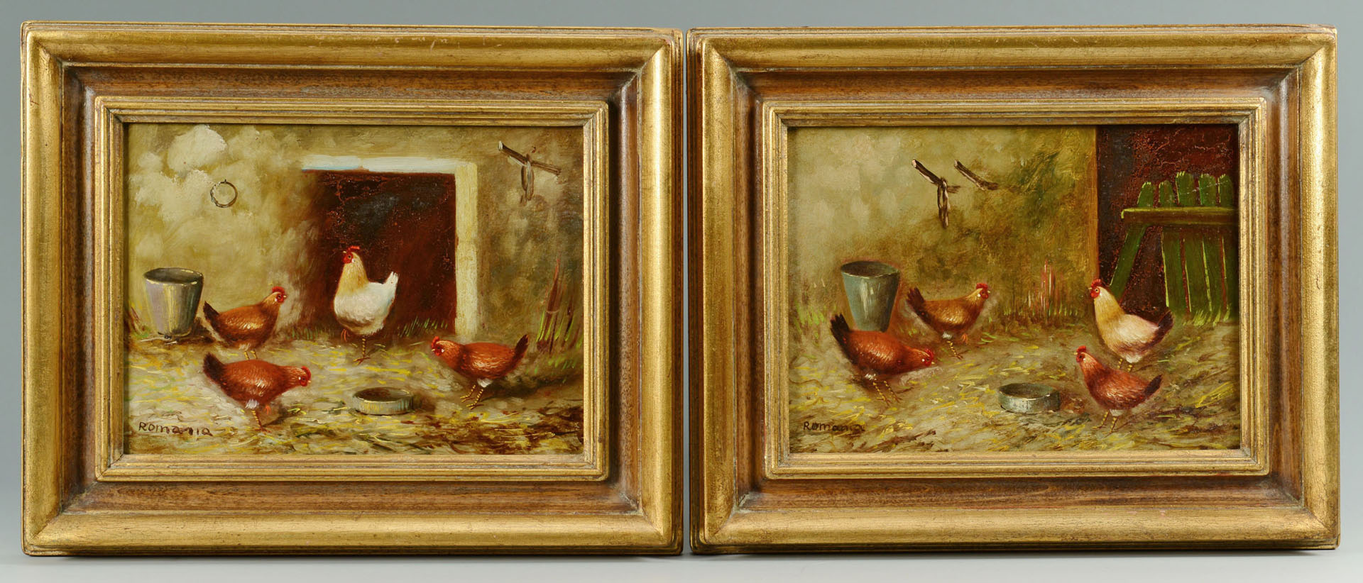 Pair of Chicken paintings by G. Romania