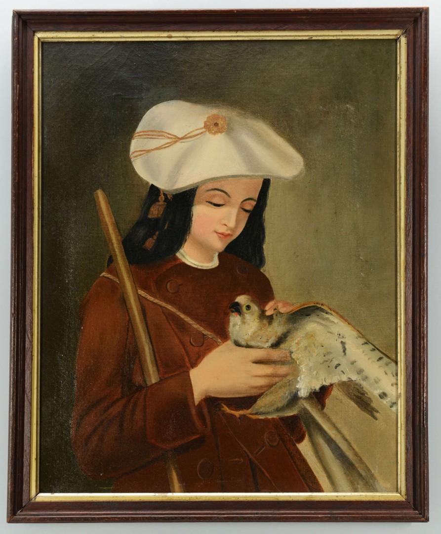 Lot 607: European School, o/c, Child with Falcon