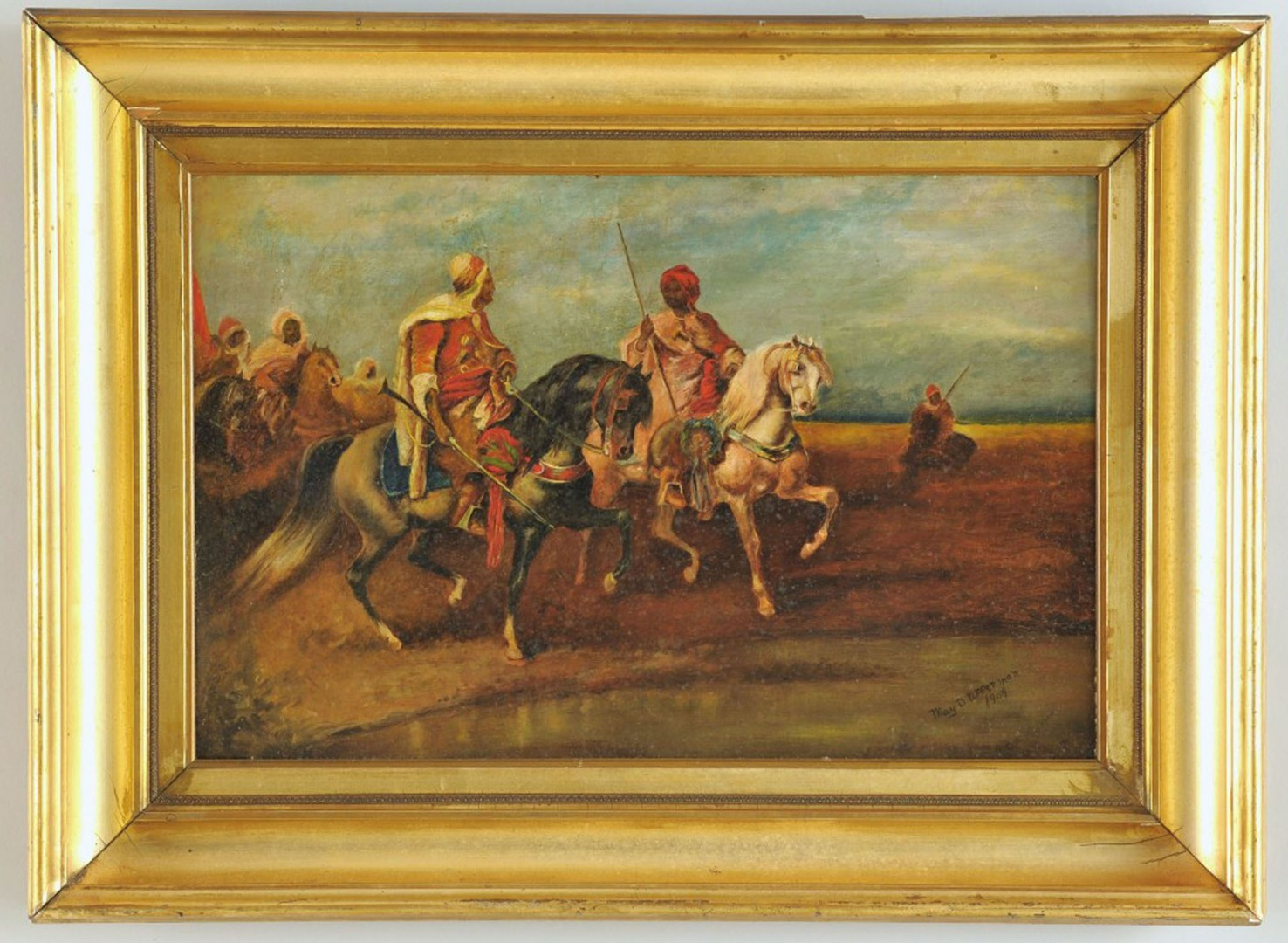 Lot 608: Early 20th Century Orientalist Oil on Board