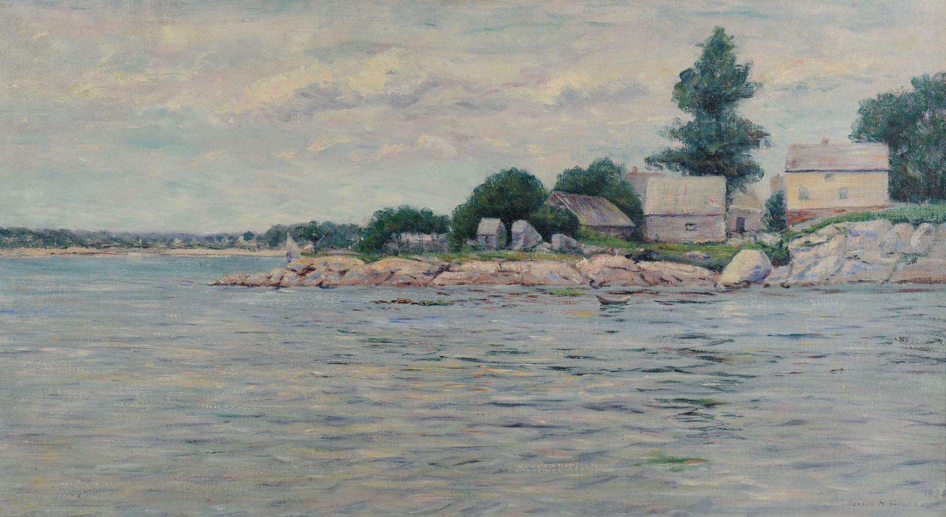 Lot 609: F. Norton Robinson, Oil On Canvas Coastal Scene