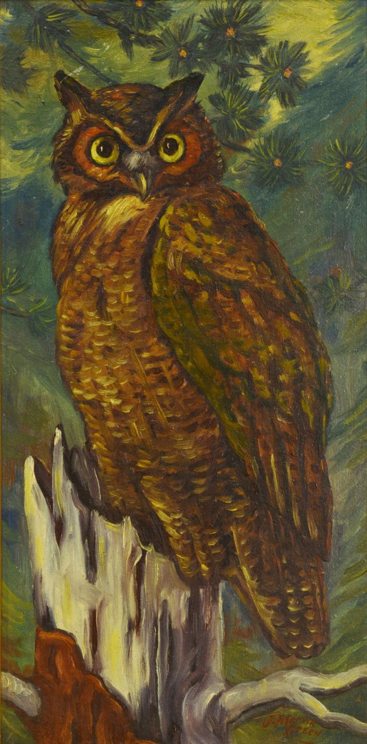 Oil of An Owl Perched in a Tree, J. Marvin Green