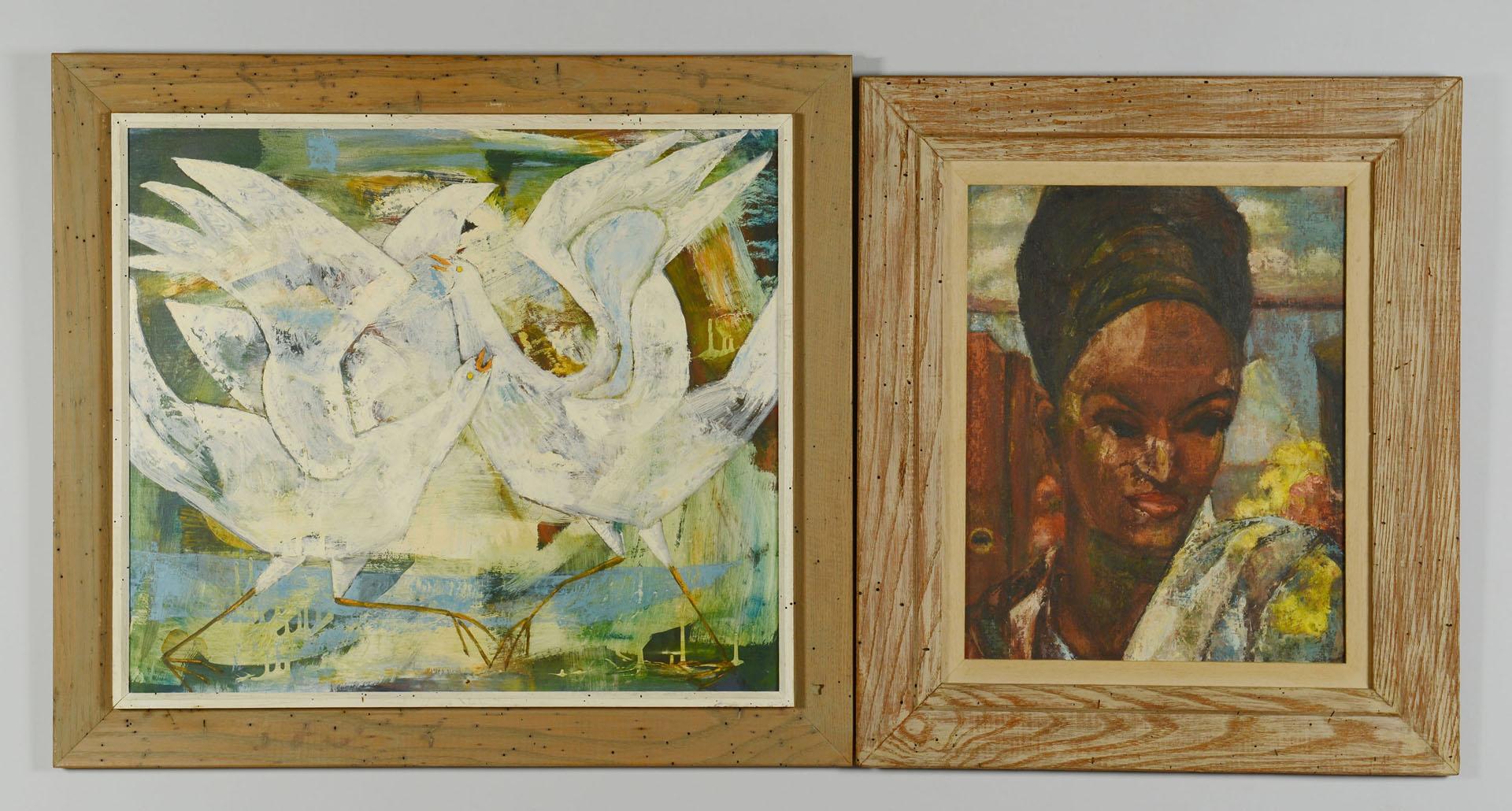 2 Irene C. Simms (TN) Oils, Wormy Chestnut Frames
