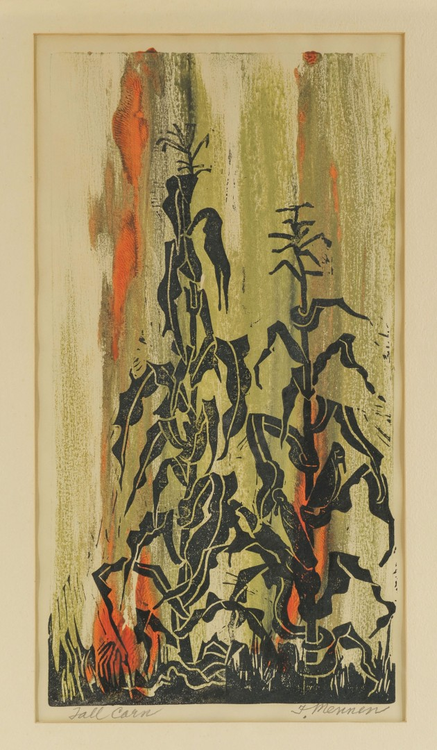 Lot 618: F. Mennen Woodblock, Tall Corn