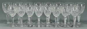 Lot 626: 16 Waterford Crystal Glasses, Kildare Pattern