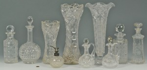 Lot 628: Grouping of 10 cut glass items