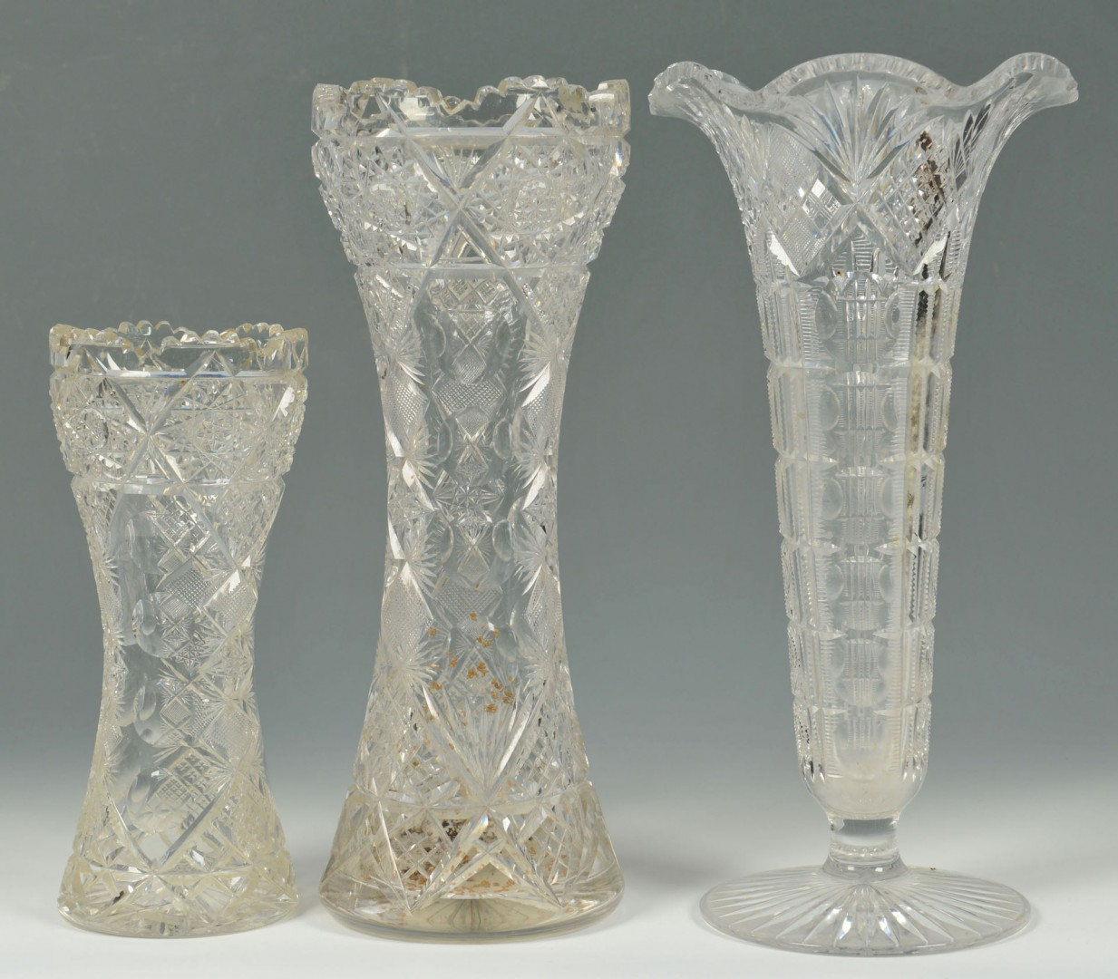 Grouping of 10 cut glass items