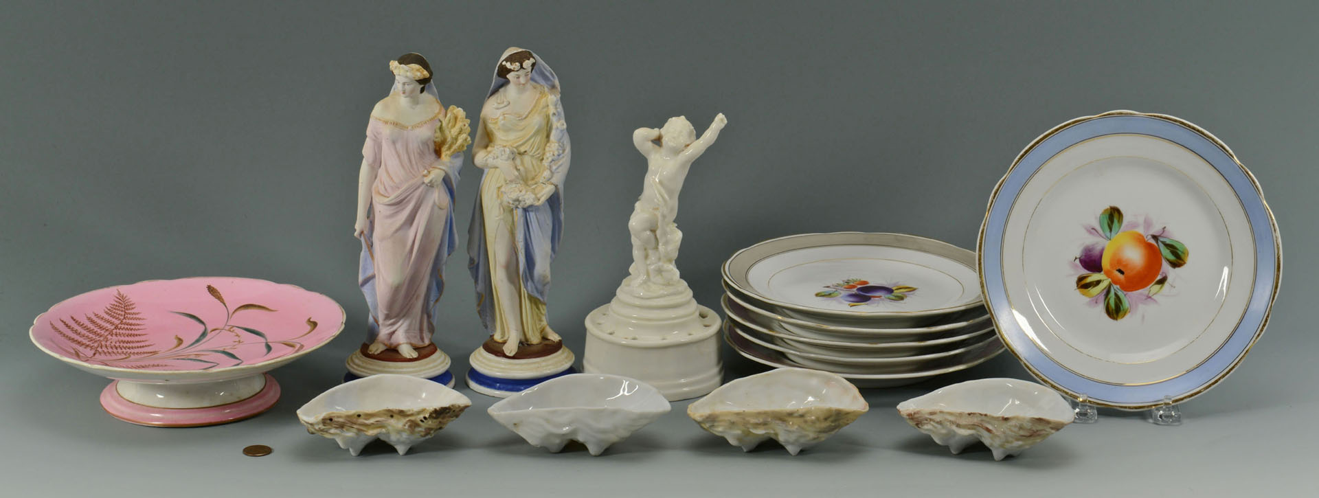 Lot 630: Grouping of KPM Plates, Oyster Cups, Figurals