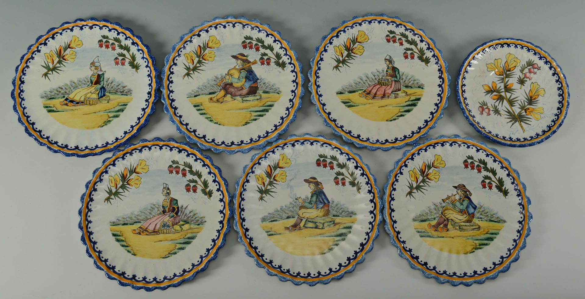 Grouping of Quimper Pottery, 18 pieces