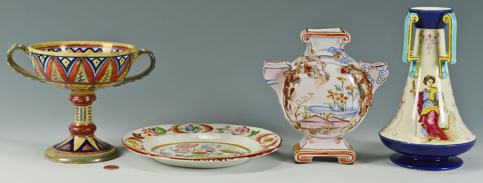 Lot 632: 3 Italian Vases & Prattware Plate, 4 pcs.