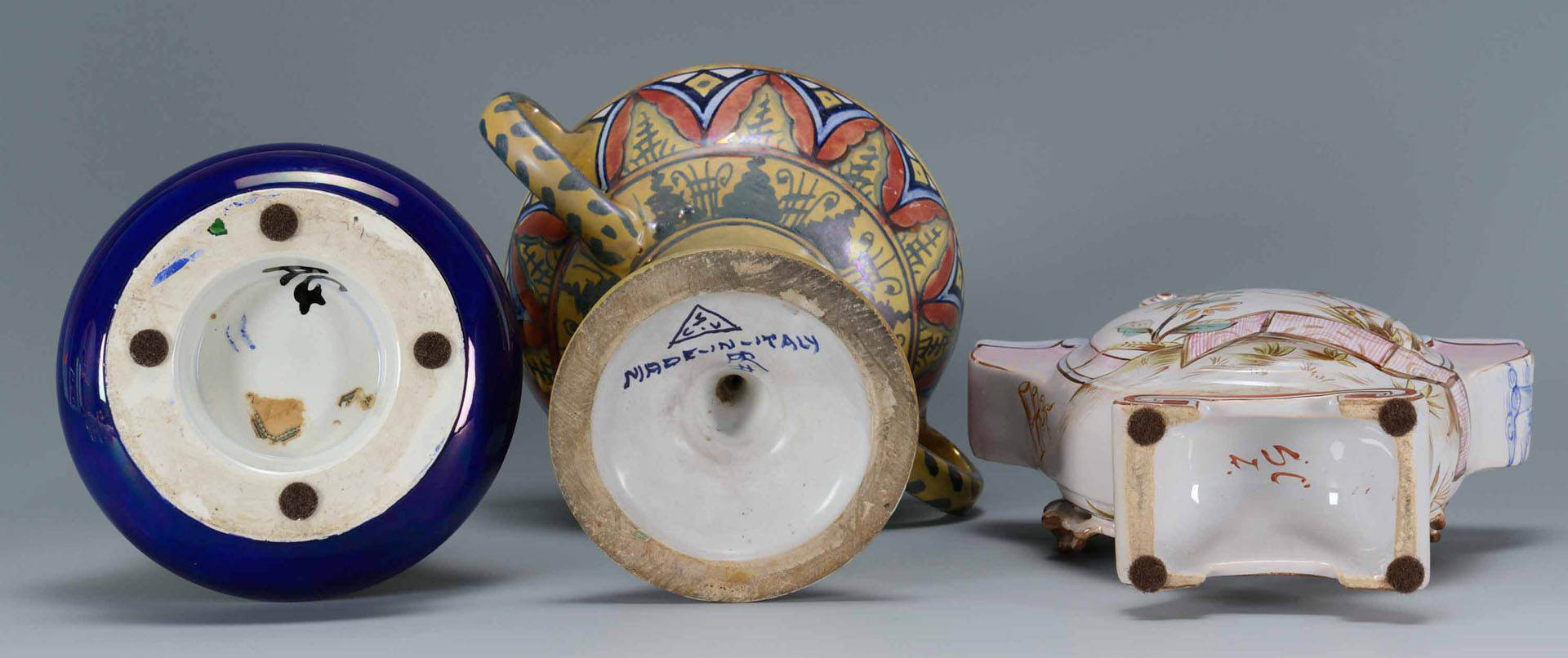3 Italian Vases & Prattware Plate, 4 pcs.